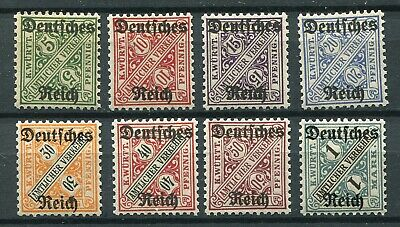 Germany Reich 1920 Scarce Officials Wurttemberg Scott O176-O183 Perfect Mnh