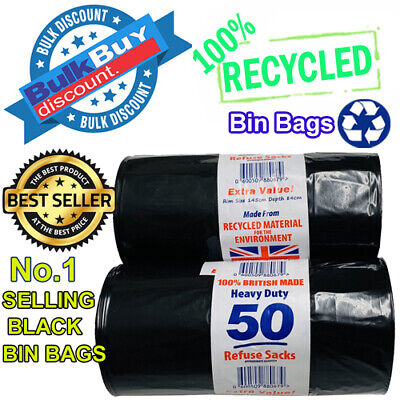 100 Heavy Duty Black Refuse Sacks Strong Thick Rubbish Bags Bin Liners