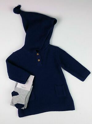 Baby Girls Clothes M&S Navy Sparkle Hooded Dress & Tights Outfit 0-3 Months BNWT