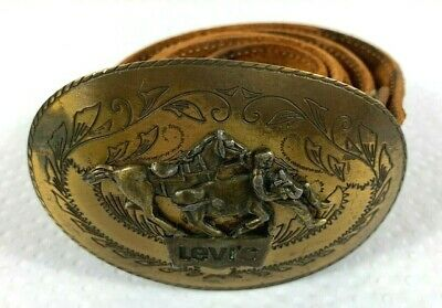 Levis Vintage Leather Belt with Buckle 1980's Era Made in Australia Size 36