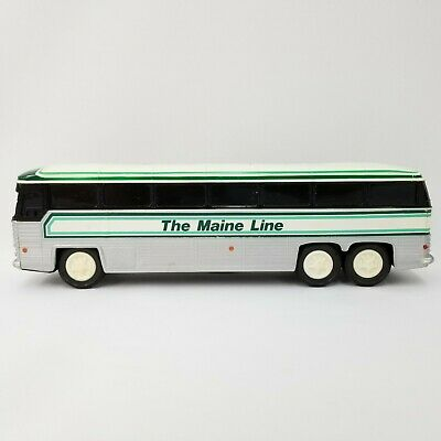 Vintage Made in Hong Kong The Maine Line Passenger Rolling Bus Coach Coin Bank