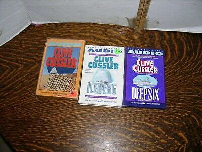 Clive Cussler lot of 3 audio books on cassette tapes.