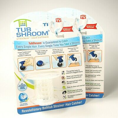 TubShroom Hair Catcher, Strainer Drain Protector for Tub, Lot of 2, NEW