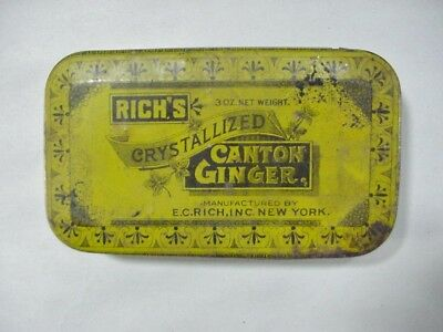 Rich's Crystallized Canton Ginger Tin - Antique New York Advertising Tin