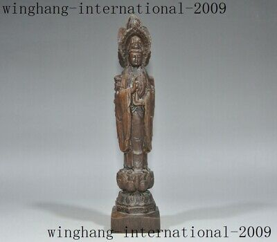"9""Chinese temple Rosewood Wood carved Three sides Kwan-Yin GuanYin Buddha statue"