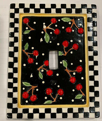 Vintage Mary Engelbreit Ceramic Light Switch Plate/Cover Cherries Checks 1995