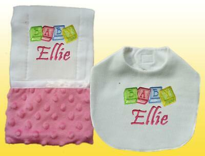 New Handmade Personalized Embroidered Baby Blocks Bib and Burp Cloth Set