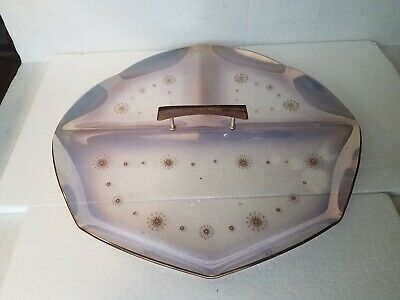 ATOMIC Starburst Snowflake Smoked Glass 3 Pt Round Serve TRAY Mid Century Modern