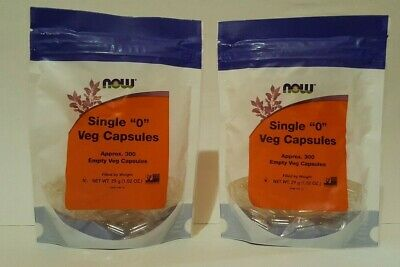 "2 PKGS NOW Single ""0"" Vegetarian Capsules, Approx. 300 Empty Capsules EXP 3/24"