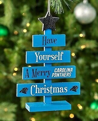 Carolina Panthers NFL Football Wooden Tree Sign Christmas Ornament Home Decor