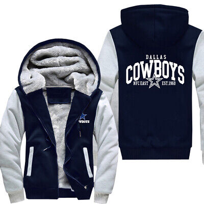 US STOCK Men's Dallas Cowboys Hoodie Zip up Jacket Coat Winter Warm