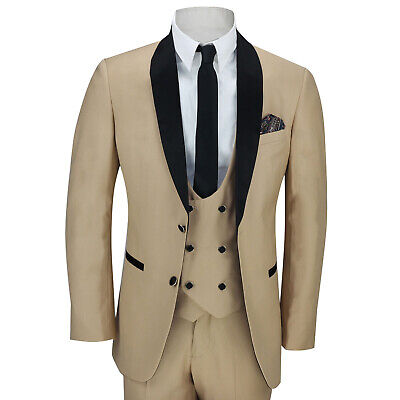 Mens Black Shawl Lapel Champagne Gold Tailored Fit Suits Wedding Formal 3 Piece