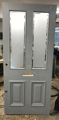 Large Victorian Etched Glass Front Door Period Old Reclaimed Antique Pine Wood