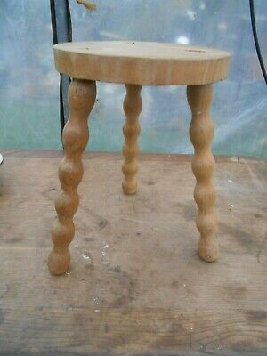Vintage French 3 legged stool  oak  bobbin legs/ plant stand