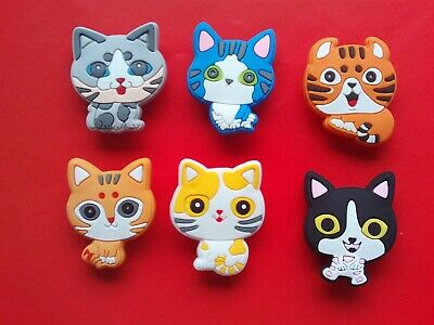 6 Cute Pretty Cats jibbitz crocs wrist hair loom band shoe charms cake toppers