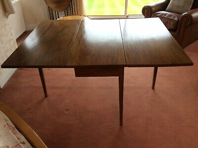 Antique C18th Georgian Mahogany Drop-Leaf Dining Table, Tapered Legs & 6 Chairs