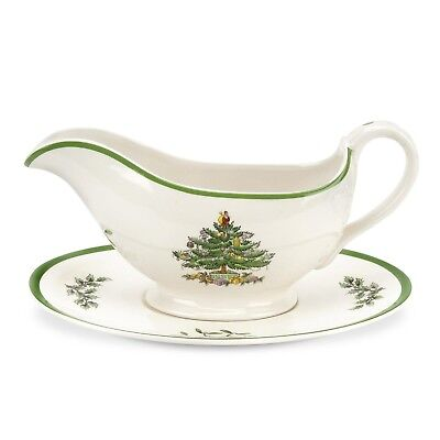 Spode Christmas Tree Sauce Boat And Stand Gravy Boxed