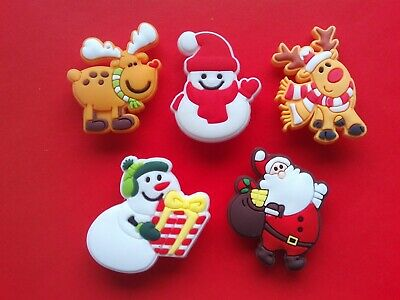 5 Rudolph Snowman Santa Xmas jibbitz crocs shoe charms cake toppers decorations