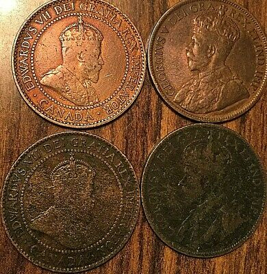 4 Canada Large Cents Lot Of 4 Coins