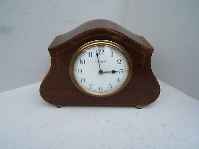 "Mantel clock French Dyson & sons Leeds Mahogany inlaid 5.5"" tall brass feet M10"