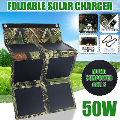 30W 50W 5V USB Port Solar Panel Foldable Power Bank Camping Hiking Phone Charger