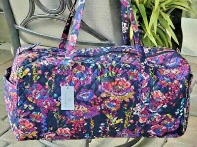Vera Bradley Large Traveler Duffel Bag Midnight Wildflowers Overnight Tote $99