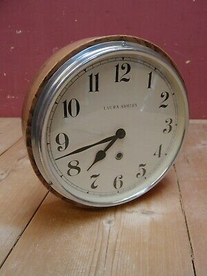 Vintage Laura Ashley Oak Cased Kitchen Wall Dial Clock Working Order