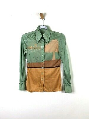 Vintage 70's Tennis Novelty Butterfly Collar Button Down Shirt Blouse