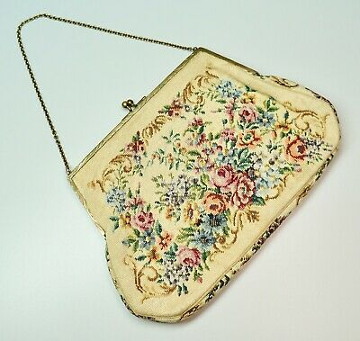 Antique Petit Point Needlepoint Tapestry Purse Floral on Beige Brass Frame