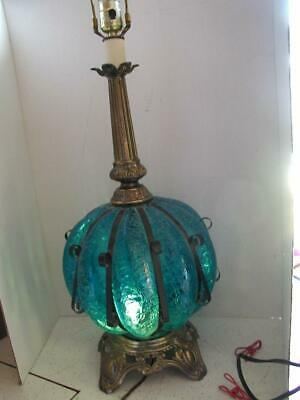 Blue crackle Glass Table Lamp 1960s 70s Wrought Iron Spanish revival steam punk