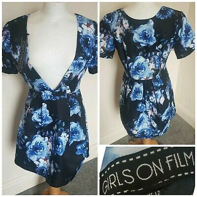 Girls On Film Blue Black Party Cocktail Floral V-Neck Dress Xmas Size 12 BMWT
