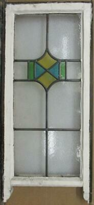 "LARGE OLD ENGLISH LEADED STAINED GLASS WINDOW Geometric Sash 14.75"" x 30.25"""