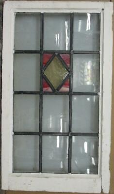 "LARGE OLD ENGLISH LEADED STAINED GLASS WINDOW Stunning Diamond 18.75"" x 32.75"""