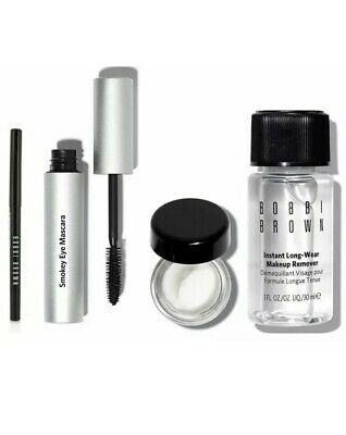 Bobbi Brown Long-Wear 4 pc Set: Eye Cream, Mascara, Gel Eyeliner, Makeup Remover