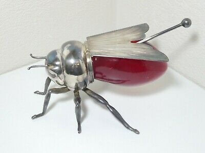 Mappin Webb Bee Honey Pot Antique Rare Silver Plate Art Deco Ruby Red Glass Body