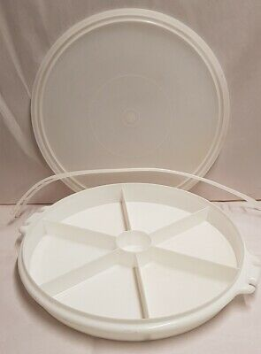 Vintage Tupperware Susan Divided Party Snack Tray Lidded with Handle 33cm Wide