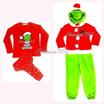 The Grinch Kids/boys fleece XMAS Onesuit costume,Pyjama set Pj's Primark red NEW