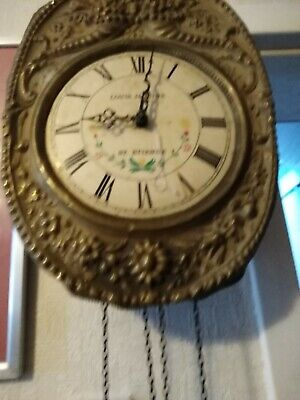 Antique Brass Wall Clock   Louis  Jaquine St  Etienne.