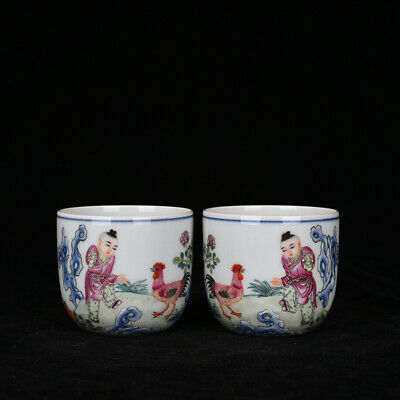 A pair Chinese old Porcelain Qianlong marked famille rose Children chicken cup
