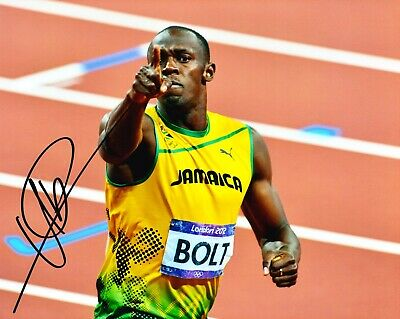 Usain Bolt Signed 10X8 PHOTO DISPLAY Olympic Legend JAMAICA AFTAL COA (D)