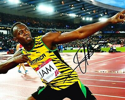 Usain Bolt Signed 10X8 PHOTO DISPLAY Olympic Legend JAMAICA AFTAL COA (G)