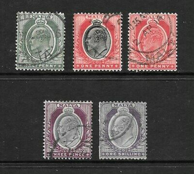 1903 King Edward VII SG39 to SG47 collection set of 5 stamps Used  MALTA