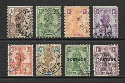 1922 - 1926 King George V SG123 to SG144 Collection of 8 stamps Used  MALTA