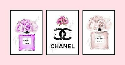 x3 Coco Chanel Perfume Fashion Logo Prints Picture Wall Art Home Decor Bedroom