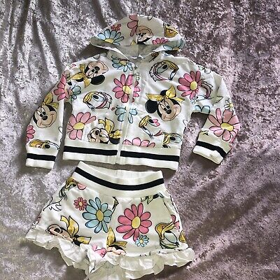Monnalisa Minnie Mouse Outfit Set Hooded Jacket Top Cardigan Shorts Age 4 & 5