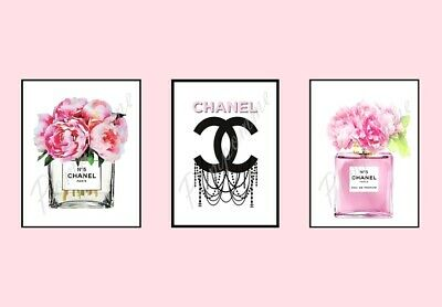 x3 Coco Chanel Perfume Fashion Prints Picture Wall Art Home Decor Bedroom Gift