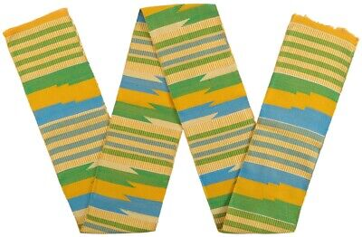 Authentic handwoven Kente Ghana fabric hand weaving cloth scarf stole African