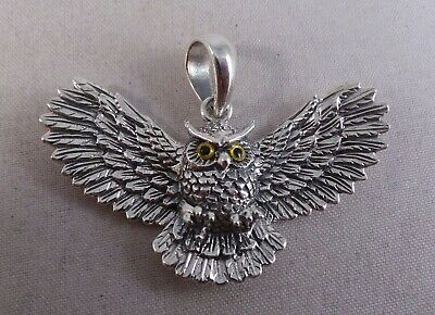 Very Nice New Sterling Silver Flying Owl Pendant