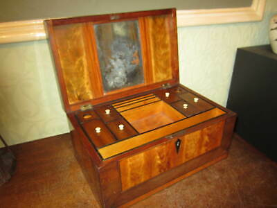 An old Victorian inlaid fitted jewellery / trinket box