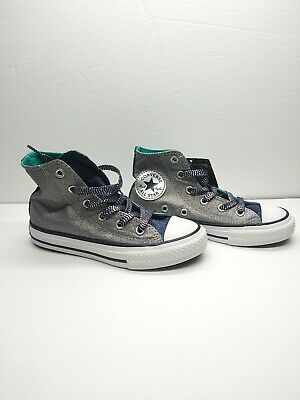 Converse all star Junior Size Girls 12 Sliver Sneakers Shoes Fashion Sneakers